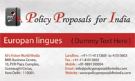 Policy Proposals for India
